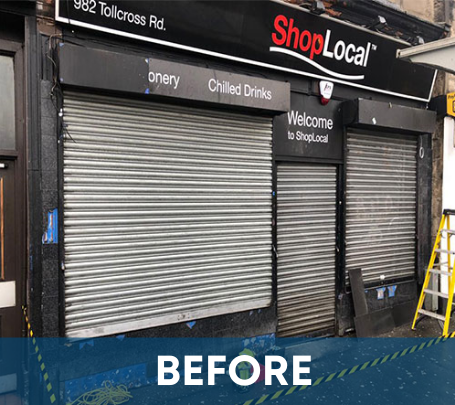 Before Picture of Shop Local - Glasgow Aluminium Shop Fronts