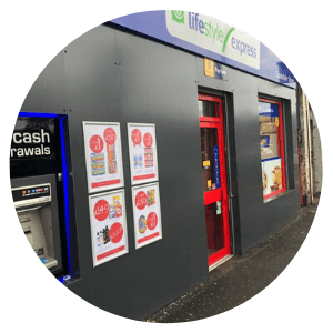 Post Office Shop Front - Shop Fitters - Shop Fitting - Aluminium - Glasgow - Edinburgh - Aberdeen - Stirling - Dundee