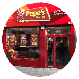 Pepes-Piri-Piri-Shop-Front-Installation-Repairs-Glasgow-Aluminium-Shop-Fronts-Scotland